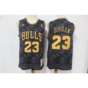 Chicago Bulls Michael Jordan Black Gold Jersey
